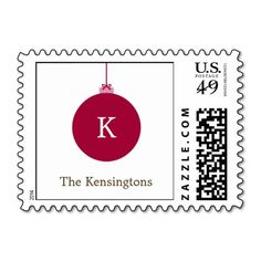 Monogram Ornament Christmas Postage Postage | Visit the Zazzle Site for More: http://www.zazzle.com/?rf=238228028496470081 [Referral Link]