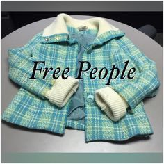 Free People Coat Beautiful Free People Coat with 3-Button Closure, Decorative Buttons Trimming the Collar, 2-Front Pockets & Sweater Collar & Sleeves!! Beautiful Shades of Teals, Tans and Yellows & Silky Inner Liner!! Pictures Can't Possibly Due this Coat Justice!! Excellent Condition!! Can fit a Size Medium as well!! Shell: 60% Wool 40% Viscose (Non-Itchy) Lining; 100% Acetate Free People Jackets & Coats
