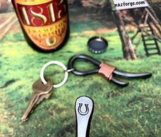 HORSESHOE Keychain Bottle Opener -  Personalized Option Available - Design by Naz - Gift for Man