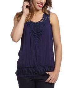 Look what I found on #zulily! Navy Pin Tuck Sleeveless Top by Simply Irresistible #zulilyfinds