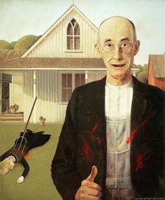 American Psycho Gothic American Psycho Gothic Probably The Most Parodied Painting On Earth American Psycho Gothic 36 Pop Cultural Reinventions Of The American Gothic Painting American Gothic Painting, American Gothic House, Grant Wood American Gothic, American Gothic Parody, American Psycho, Gothic Horror, Gothic Art, Horror Art, Photo Rock