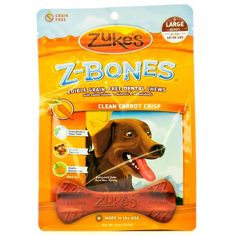 Large Zuke's Z-Bones Grain-Free Clean Carrot Crunch Dental Chews are designed to clean teeth and freshen breath for dogs while also delivering antioxidants from sources such as spinach, rosemary, alfalfa concentrate and turmeric.