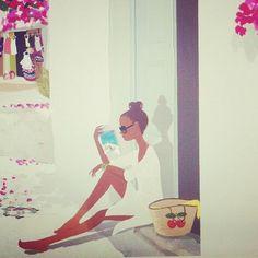 Reading. Illustration by Adrian Valencia via Instagram
