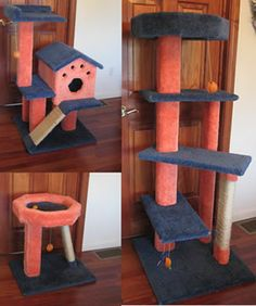 Syracuse - New York  My husband and I decided to make cat trees for my 3 adult sons for Christmas. Being that we are all Syracuse University fans, we decided to make them in the school colors of orange & blue.  This small one was made for our son's cat in Philly. He lives in a small apartment. This perch will fit just right under a window and Hudson can look out at the world to his heart's content.