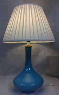 Midcentury Modern 60s Holmegaard Blue Glass Table Lamp Light Danish Rewired FWO