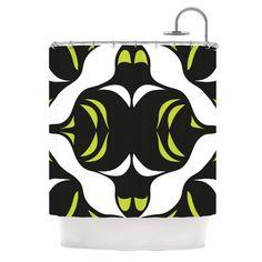 Green White JawsShower Curtain
