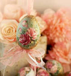 Easter egg Hand painted Wooden easter eggs Vintage Shabby by LAIVA, $20.00
