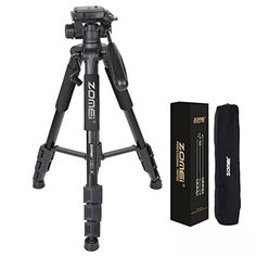 ZOMEI Q111 55Inch Professional Aluminium Camera Tripod Camcorder Stand with PanHead Plate for DSLR Canon Nikon Sony DV Video Black * Click image to review more details.