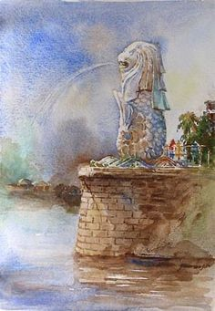 Merlion Singapore, Singapore Art, Watercolor City, Watercolour Painting, Watercolors, Art For Art Sake, Street Art, Mosaic, Art Gallery