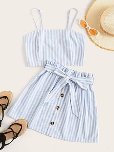 To find out about the Shirred Striped Cami Top & Button Front Belted Skirt at SHEIN, part of our latest Two-piece Outfits ready to shop online today! Girls Fashion Clothes, Teen Fashion Outfits, Look Fashion, Outfits For Teens, Summer Outfits, Clothes For Tweens, Cute Comfy Outfits, Cute Casual Outfits, Pretty Outfits