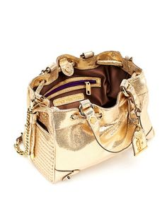 Juicy Couture Dylan Leather Mini Daydreamer purse, gold