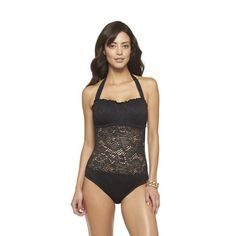 Crochet Halter Bandeau One-Piece Swimsuit - Mossimo @ Target