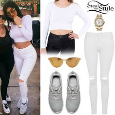 Kylie Jenner posted a picture on instagram yesterday wearing an American Apparel Cotton Spandex Jersey Long Sleeve Crop Top ($32.00), the Topshop Moto White Ripped Leigh Jeans ($70.00), her Rolex Lady-DateJust Oyster Yellow Gold Watch, Linda Farrow 162 Sunglasses ($1,318) and a pair of Nike Roshe One Platinum Sneakers ($75.00).