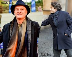 Italian actors Claudio Bisio and Alessio Boni wearing the iconic Fay Double Coat.