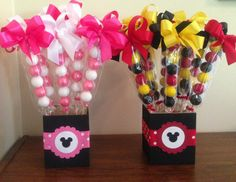 Candy Favor and Centerpiece all in one. No Disney theme, diferent colors? @Emily Kleinecke