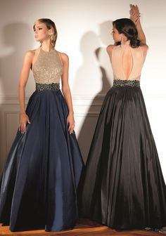 Full navy/black ball gown with gold sequin top