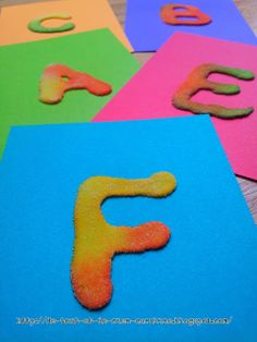 Everything and nothing: Activities for Preschool: Letters touch of glue and salt