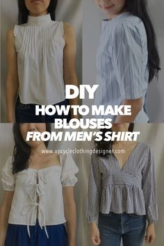 Recycled Mens Shirt, Upcycled Shirts, Blouse Refashion, Shirt Transformation, Diy Dress, Dress Shirt, Blouses For Women, Women's Blouses, Diy Clothes