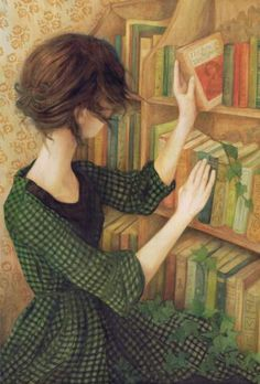 Through the Pages (2012) © Nom Kinnear King (Artist. Brighton & London, England). Young woman, Library, Books, Ivy