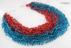 "Колье ""Алый парус на море"" связано из бисера ярко изумрудного и алого цветов. Необычность этих бус в том, что цвета идут друг за другом, не смешиваясь. Около 18 нитей.  Длина 50-55, цепочка-удлинитель. Necklace ""Scarlet sails in the sea"" beaded emerald and scarlet. Bright.The uniqueness of these beads is that colors are to each other, without mixing. About 18 strands. Length 50-55 cm., Lock-carbine and a chain extender."