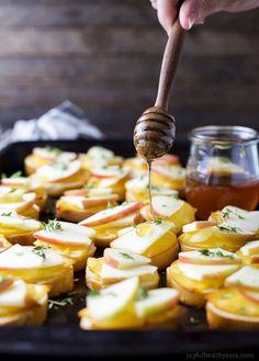Smoked Gouda & Apple Crostini with Honey Drizzle