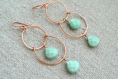 Copper and green howlite wirework earrings by SilversheepJewelry