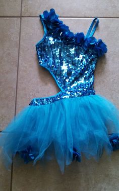 Glamour Blue Sparkly Lyrical Competition Dance Costume Sz.SC EUC #Glamour #Dress