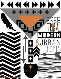 FREE Tribal, Modern, Urban Fonts + Designs via @Kellie Dyne Dyne Dyne Dyne~Nest of Posies