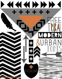 FREE Tribal, Modern, Urban Fonts + Designs via @Kellie~Nest of Posies
