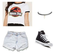 """Jurassic Park"" by brooklynhi on Polyvore featuring Forever 21, Converse and Wet Seal"