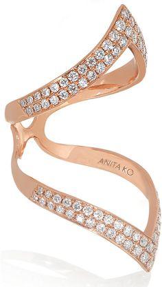 Anita Ko Chevron 18-Karat Rose Gold Diamond Ring