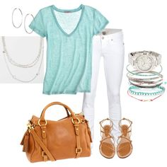"""""""Turquoise and white Summer outfit."""" by lesliecf on Polyvore"""