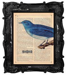 Beautiful BLUE BIRD art print Blues Festival on a by BlackBaroque, $10.00