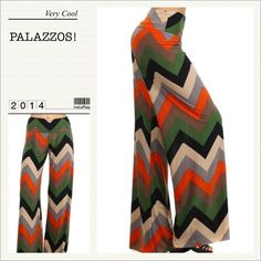 "TRENDY CHEVRON ZIGZAG PALAZZOS! Very hip olive, black, orange & beige Palazzos. Pair with a tank and a shawl or just add sandals. Instant chic! 100% polyester. Available in Small & Medium. SMALL: Waist: 26-30"", M: Hips: 40-46"". Inseam: 34"" MEDIUM: Waist: 28-32"" Hips: 44-50"" Inseam: 34"" MG Pants"