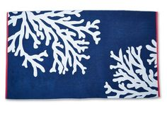 Coral Beach Towel, Midnight/Cayenne