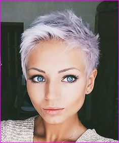 Pixie cuts for 2018 are diverse and you can get many options. If you have thick hair then getting a pixie cut makes your hair look full of texture and voluminous. With fine hair, you can get the pixie cut that adds dimension to your hair. Grey Pixie Hair, Pixie Cut Blond, Gray Hair, Very Short Hair, Short Hair Cuts, Short Hair Styles, Super Short Pixie, Short Pixie Haircuts, Pixie Hairstyles