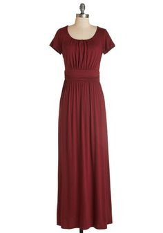 Fun of the Mill Dress. This cranberry maxi dress may not come with bells or whistles, but it sure is foolproof as a fashionable staple! #gold #prom #modcloth