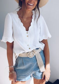 Blouses - Easy Clothes Short, Capsule Wardrobe, Denim Skirt, Spring, Easy, Summer Outfits, Bell Sleeve Top, Ruffle Blouse, Fashion Outfits