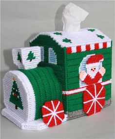 Everything Plastic Canvas - Christmas Train Tissue Topper Plastic Canvas Ornaments, Plastic Canvas Tissue Boxes, Plastic Canvas Christmas, Plastic Canvas Crafts, Plastic Canvas Books, Christmas Train, Christmas Sewing, Christmas Candy, Plastic Canvas Stitches