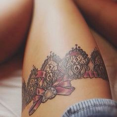59 Elegant Lace Tattoo Designs That Any Girl Would Love - Beste Tattoo Ideen Pretty Tattoos, Sexy Tattoos, Cute Tattoos, Beautiful Tattoos, Body Art Tattoos, Bow Tattoos, Tatoos, Tasteful Tattoos, Maori Tattoos