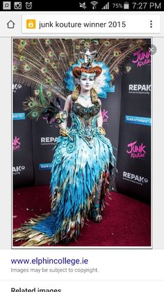 Junk kouture 2015 winner Fantasy Inspiration, Style Inspiration, Fashion 2020, Fashion Show, Recycled Fashion, Recycled Materials, Wearable Art, Art Dolls, Designer Dresses