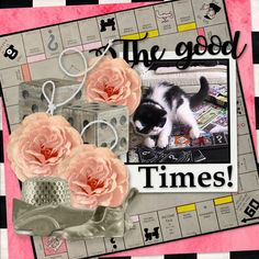 Good times mean different things to different people.  Playing with kittens can be calming and fun at the same time.  A Good time.   For my layout, I used The Good Times by Gingers Scraps N Pixels.  It is part of the mixology this month at GDS. http://www.godigitalscrapbooking.com/shop/index.php?main_page=product_dnld_info&cPath=234_413_446&products_id=30371