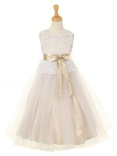 Champagne Elegant Lace Bodice with Tulle Skirt Flower Girl Dress (Sizes 2-12 in 6 Colors)