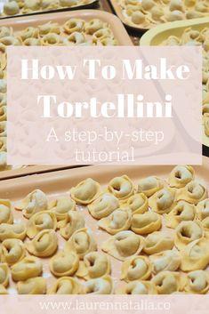 Vegan Tortellini, How To Make Tortellini, Homemade Tortellini, Homemade Pasta Dough, Tortellini Recipes, Homemade Pasta Recipes, Homemade Ravioli, Ravioli Recipe, Cheese Tortellini