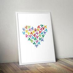 Origami Heart Cranes   Print Wall art, PDF, Printable, Instant Download