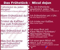 Das Frühstück - Micul dejun - Rumänisch Deutsch - Rumänisch Lernen Sprachkurs Bullet Journal, Language, Studying