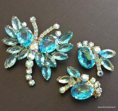JULIANA Vintage Set Brooch Pin Earring Butterfly Turquoise Rhinestone Demi! 314