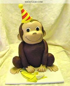 Curious George Cake Jonathan would love this he really likes George Curious George Cakes, Curious George Party, Curious George Birthday, 2nd Birthday Cake Boy, 2nd Birthday Parties, Birthday Ideas, Fancy Cakes, Cute Cakes, Awesome Cakes
