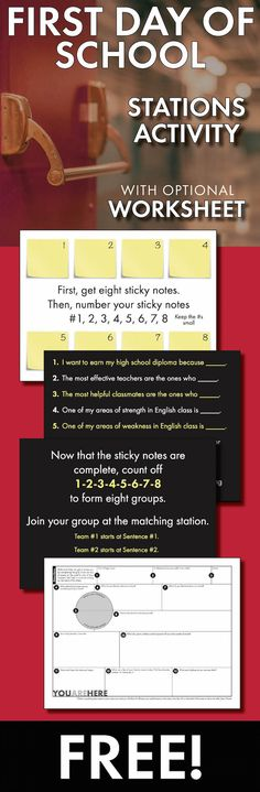 Start the school year strong with stations #firstdayofschool #lessonidea #free #middleschool #highschool #icebreaker