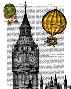 Vintage Hot Air Balloon Print Over London, Digital Art Print Illustration Mixed Media Original Print wall art wall decor wall hanging